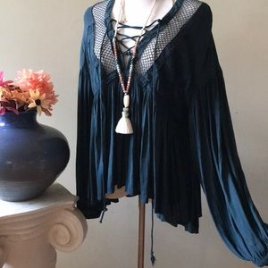 Free People Tops - FREE PEOPLE | teal babydoll lace up tunic top
